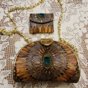 🌹🛍Peacock feather purse and small wallet❤🛍